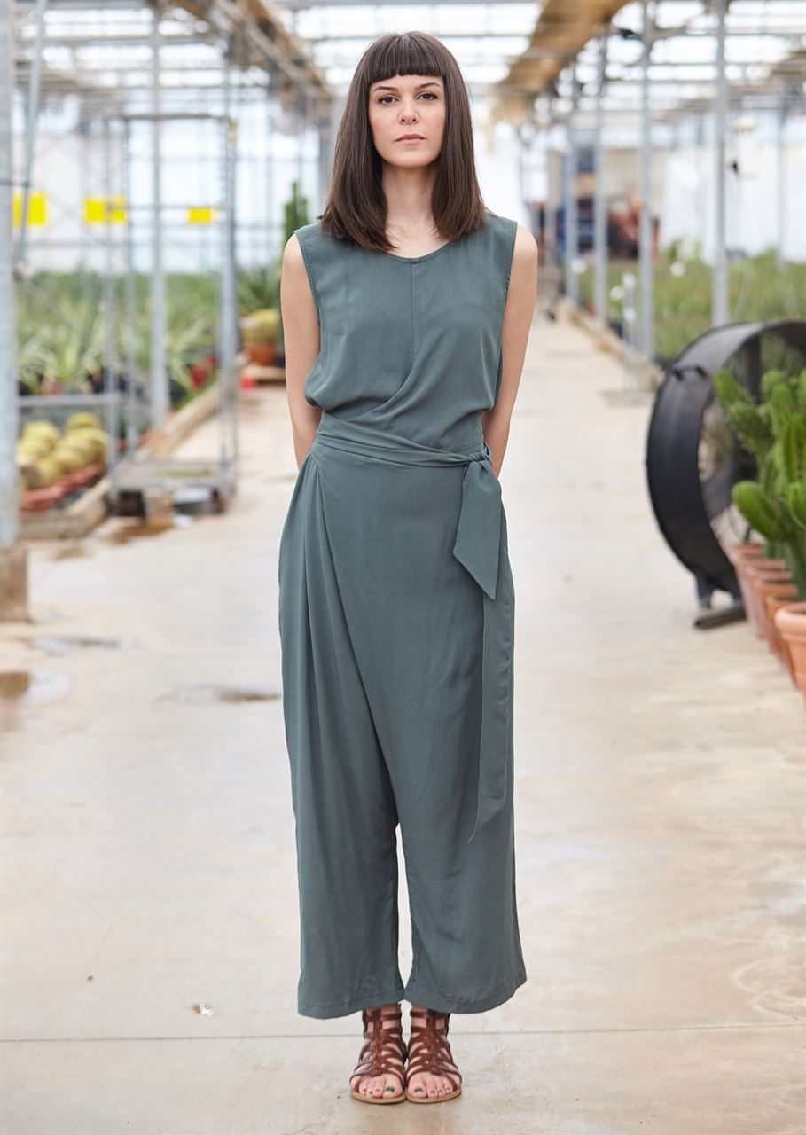 Picture of Geometric Jumpsuit in Greyish green