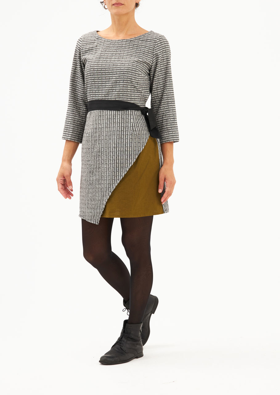 Picture of mini slit dress in grey-olive