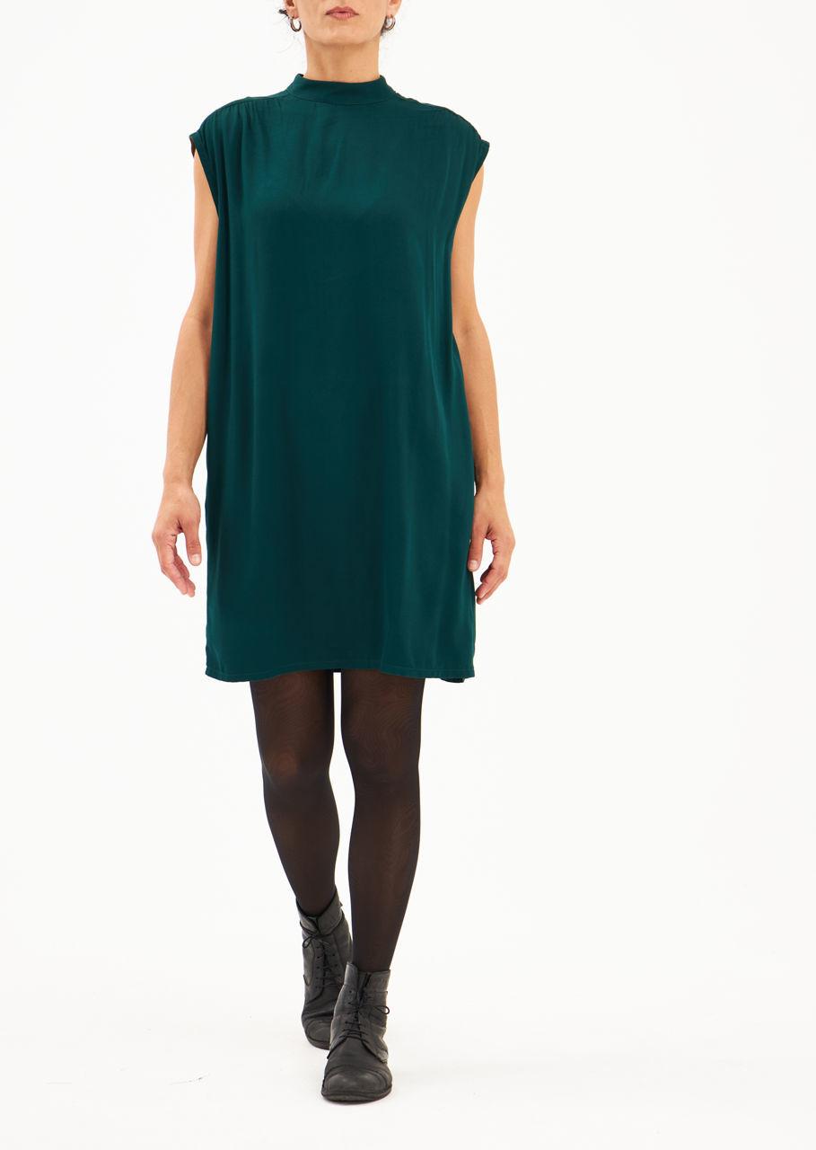 Picture of collar dress sleeveless winter green