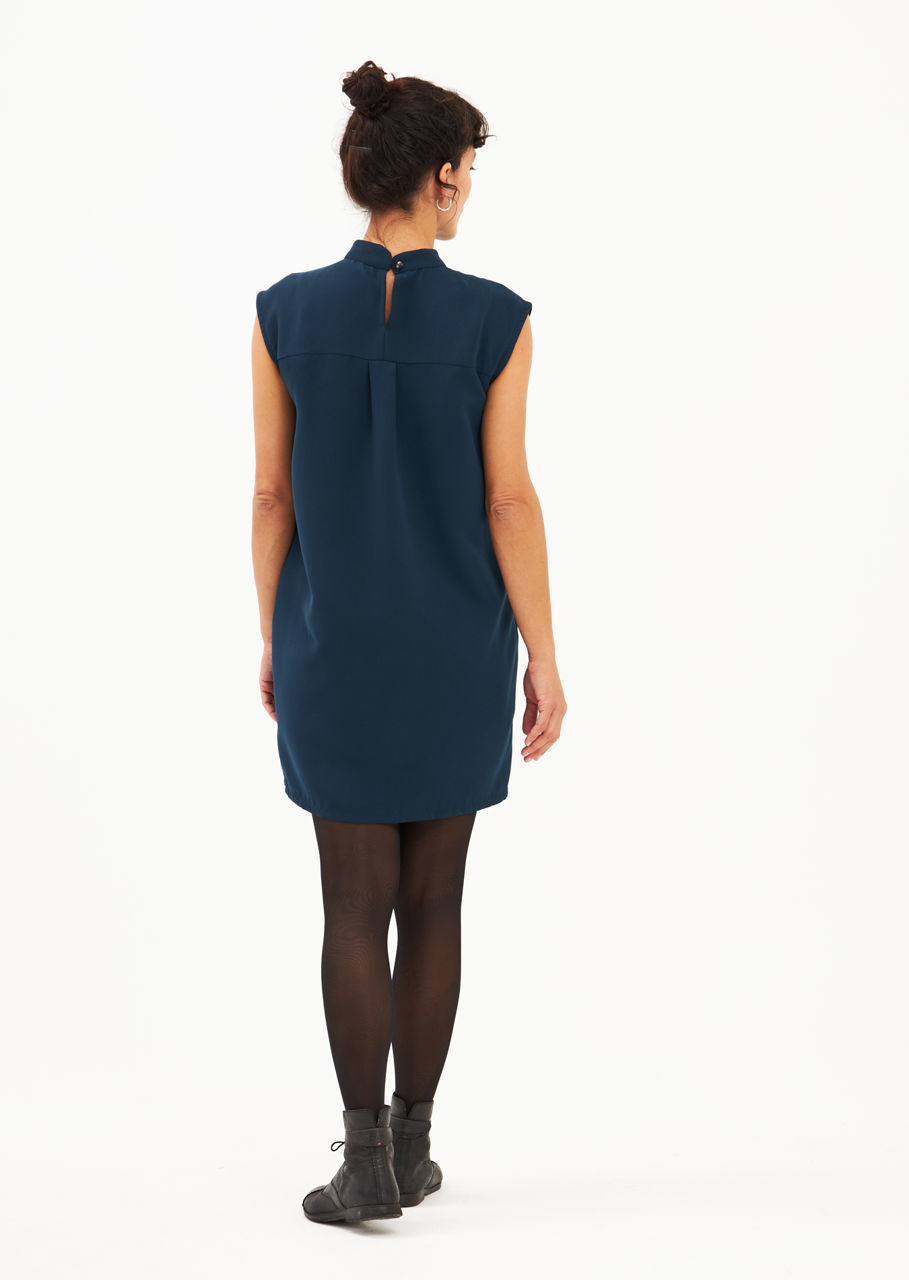 Picture of collar dress sleeveless blue