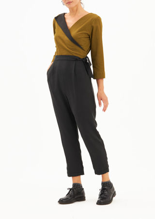"""Picture of """"flying lapel"""" jumpsuit in olive black"""