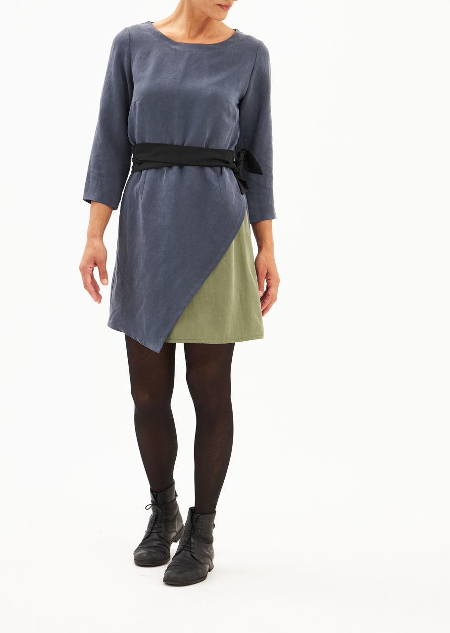 Picture of mini slit dress in raf blue - olive