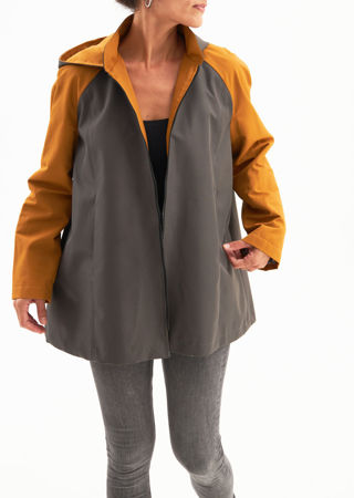 Picture of Water repellent  a-line jacket in grey mustard